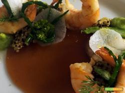 Ricetta di un piatto estivo leggero di gamberi e asparagi, Sunset Salad