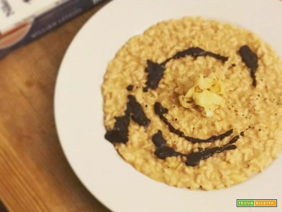 Ricetta risotto al sedano rapa, porri e aglio nero