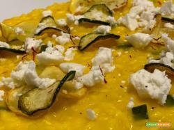 Ricetta risotto allo zafferano con zucchine e feta greca