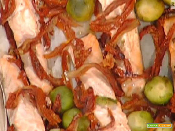 Salmone al forno con cavolini di Bruxelles croccanti di Marco BIanchi
