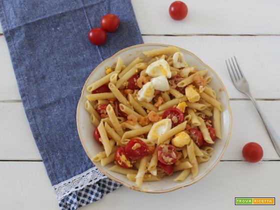 Pasta fredda con pomodorini e gamberetti