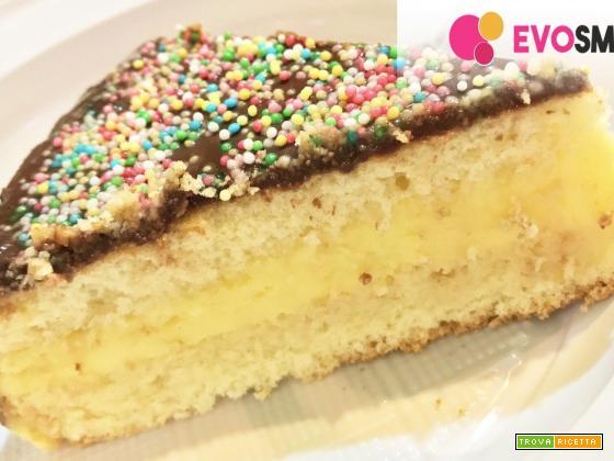 Torta con crema pasticcera e ganache al cioccolato