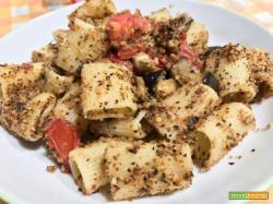 Mezze maniche melanzane,pangrattato e pomodorini