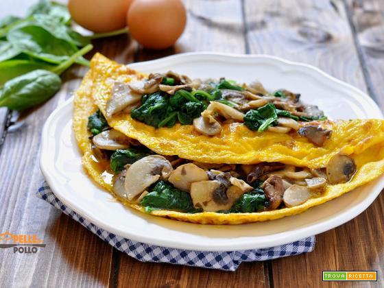 Omelette con funghi e spinaci