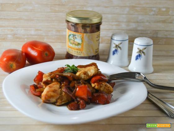 Bocconcini di pollo con verdure in agrodolce