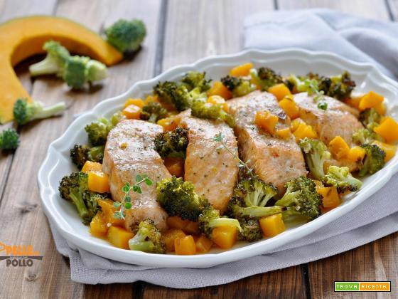 Salmone al forno con zucca e broccoli
