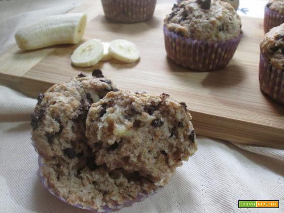 muffin integrali banana e cioccolato