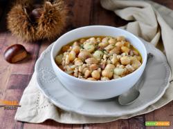 Zuppa di ceci con castagne e farro