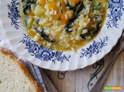 Minestra di riso, zucca e spinaci