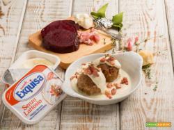 Canederli alle barbabietole su crema di formaggio: uno sfizio