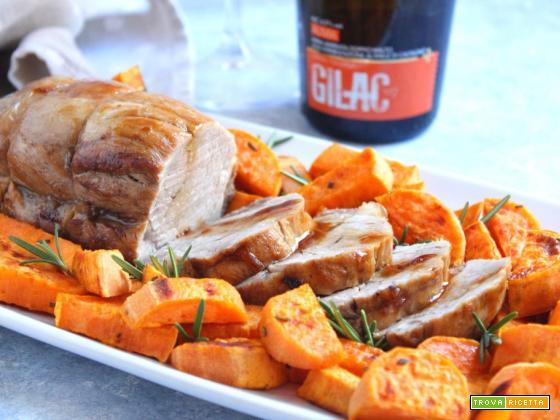Filetto di maiale alla birra (con patate dolci)