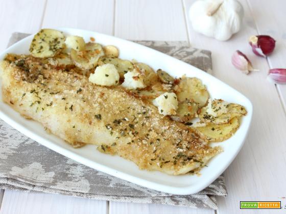 Branzino gratinato con patate e cavolfiori