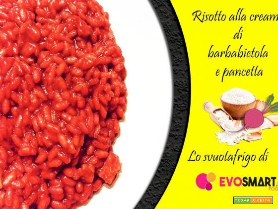 Ricetta svuotafrigo: risotto alla crema di barbabietola e pancetta