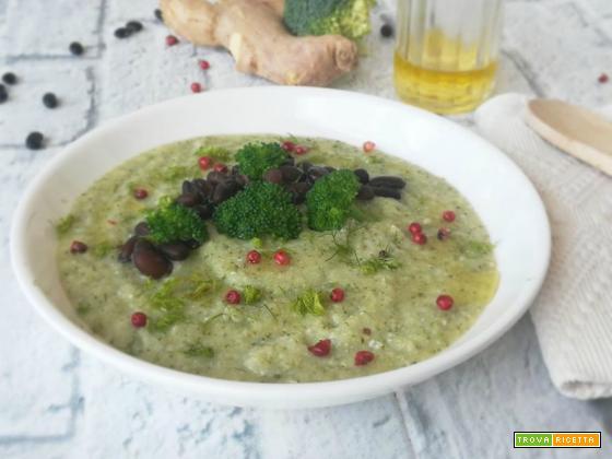 Vellutata di broccoli siciliani con fagioli neri e zenzero