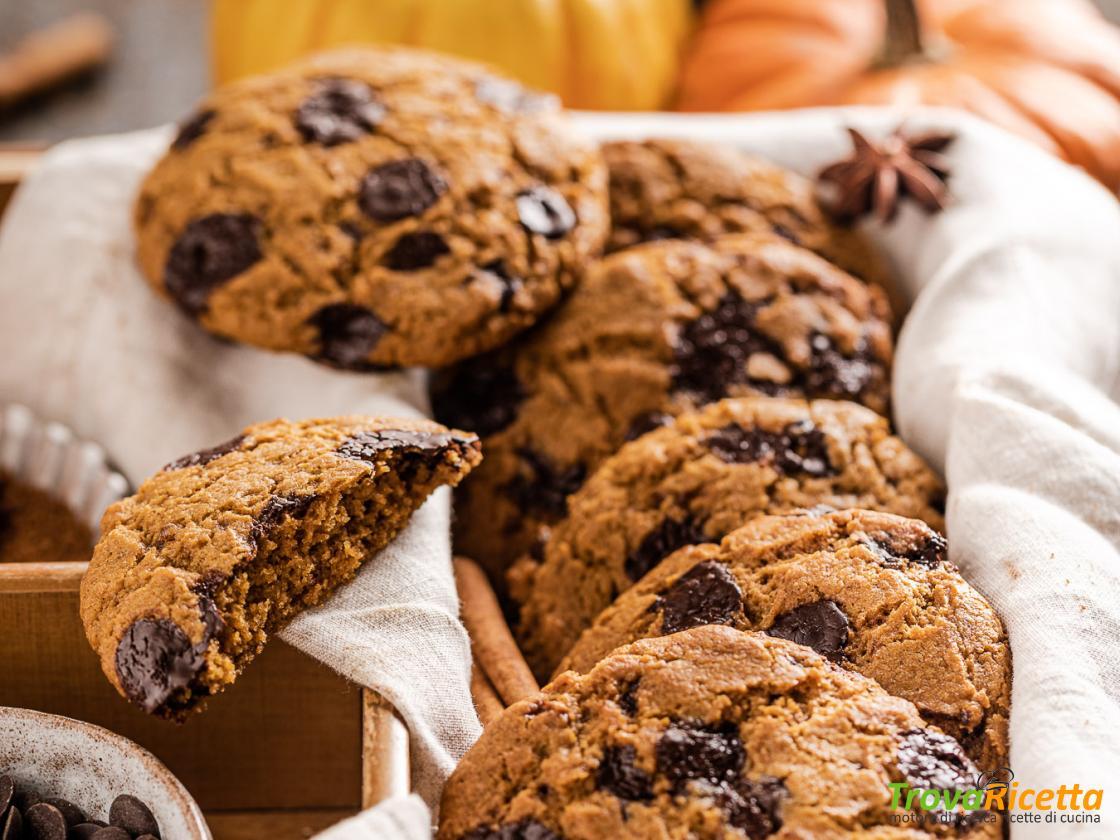 COOKIES alla ZUCCA e CIOCCOLATO Vegan Integrali | VEGAN PUMPKIN CHOCOLATE  CHIP COOKIES - Ricetta