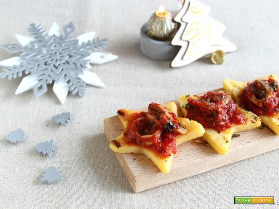Stelline di polenta con totani e cozze