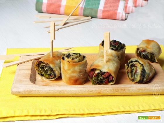 Girelle di pasta fillo broccoletti e pancetta
