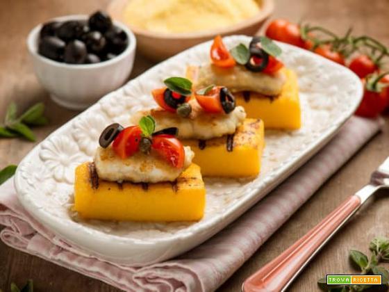Sfiziosi crostini di polenta con merluzzo e pomodoro