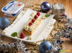 Un dolce Natale: crostino di panettone con namelaka e lamponi