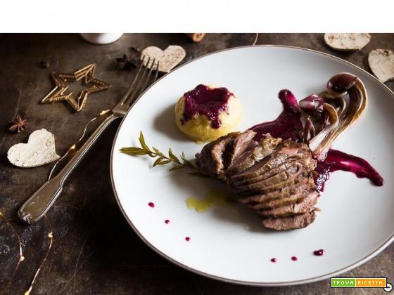 Guancetta di vitello brasata al vino rosso
