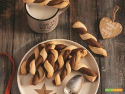 Biscotti intrecciati bicolore: frolla friabile