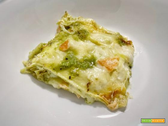 Lasagne salmone e pistacchio