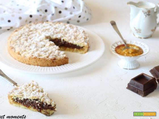 Sbriciolata con crema al cioccolato e marmellata