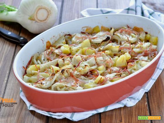 Finocchi e patate al forno con speck e provola