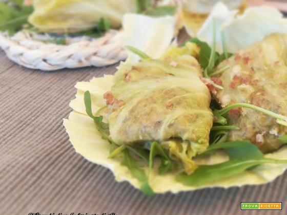 Involtini di verza con salsiccia di pollo e scamorza