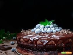 Torta al doppio cioccolato e mirtilli