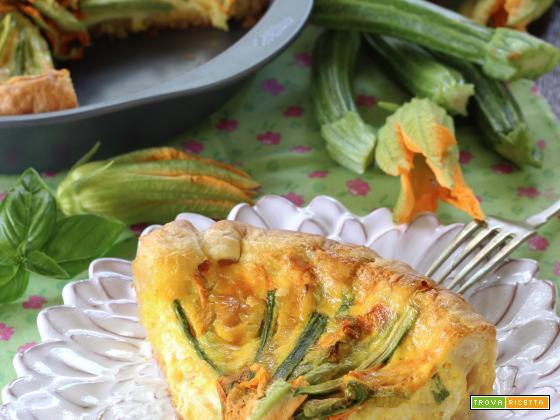 Quiche di Zucchinette, Burrata e Fiori di Zucchina