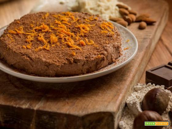 Torta con farina di castagne al cioccolato, senza cottura!