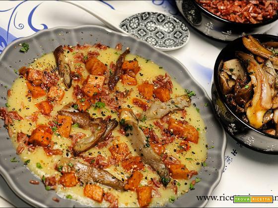 Crema di sedano rapa, Pleurotus,riso rosso e tempeh
