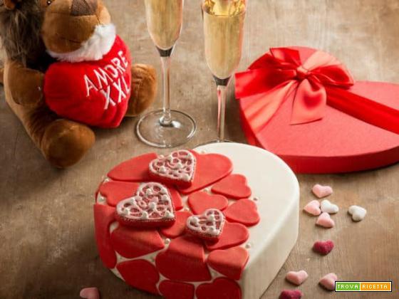 Torta di San Valentino al formaggio Exquisa e pistacchi