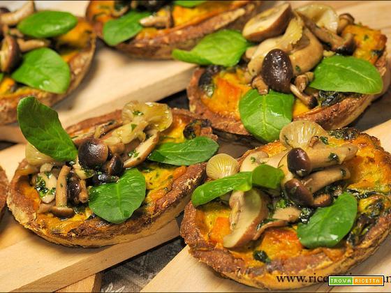 Tartellette senza glutine con porri,funghi,zucca e spinaci