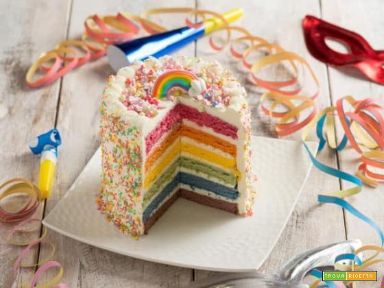 Torta arcobaleno senza glutine e lattosio, effetto wow assicurato!