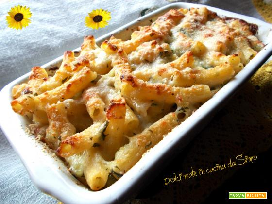 Pasta al gratin con patate rucola e crescenza