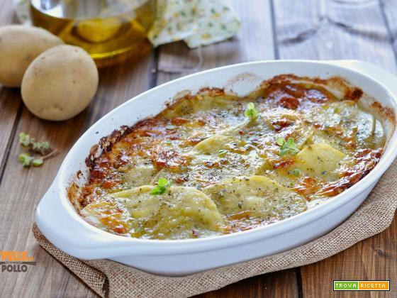 Gratin di patate al forno con erbe e provola