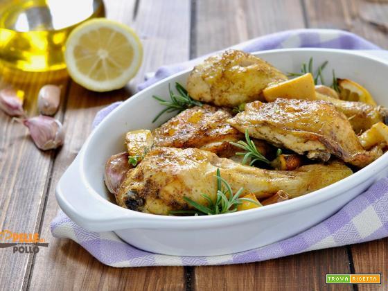 Pollo arrosto al limone, aglio e rosmarino