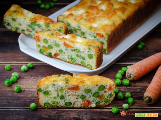 Plumcake salato piselli carote e feta