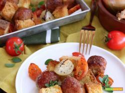 Teglia furba di Salsicce con Pomodori, Cipolle e Pane raffermo
