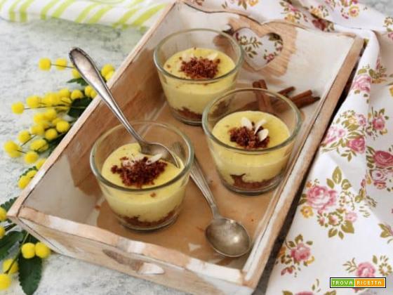 Bicchierini di crema allo zafferano e cannella, un vero dessert da ristorante