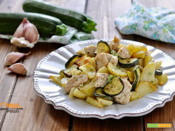 Bocconcini di tacchino con patate e zucchine al forno