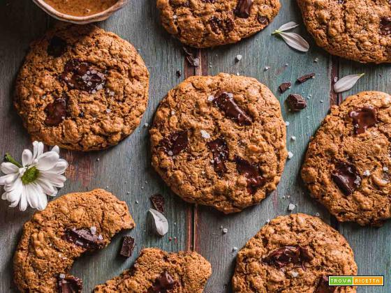 Cookies vegani senza glutine al cioccolato ( senza olio ) | Gluten-free Vegan Oatmeal Chocolate Chip Cookies