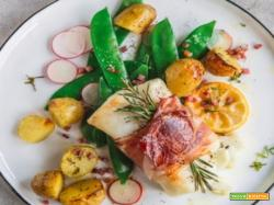FILETTO DI MERLUZZO CON SPECK E PATATE AL LIMONE