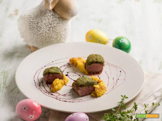 Pasqua con lombata di agnello alle erbe e salsa al vin brûlé