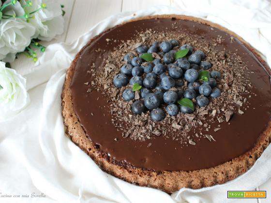 Crostata morbida al cioccolato e mirtilli