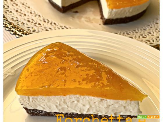 Cheesecake senza cottura, base frollini cacao e vaniglia, topping orange&lemon curd