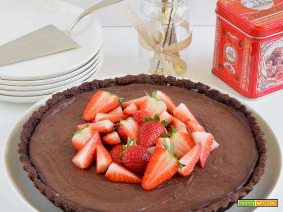Crostata al cocco e ricotta con ganache al cioccolato