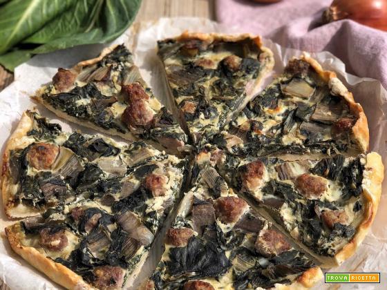 TORTA SALATA CON BIETOLE, SALSICCIA E RICOTTA